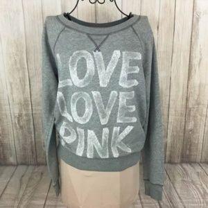Victoria's Secret Love PINK Gray Heart Sweatshirt